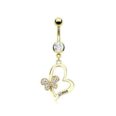 Piercing - Luxury Gold Heart and Flower